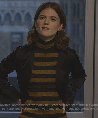 Maia's metallic striped top on The Good Fight