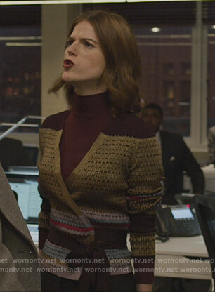 Maia's metallic wrap sweater on The Good Fight