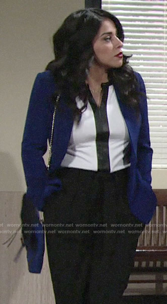 Mia's white top with black leather trim and blue blazer on The Young and the Restless