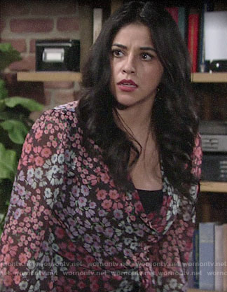 Mia's floral wrap top on The Young and the Restless