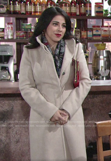 Mia's oatmeal coat and houndstooth scarf on The Young and the Restless