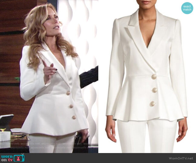 Misha Collection Novalee Peplum Blazer worn by Lauren Fenmore (Tracey Bregman) on The Young & the Restless