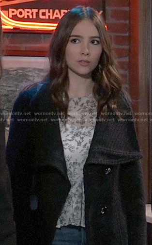 Molly's black textured coat on General Hospital