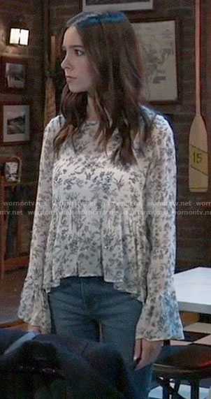 Molly's white floral top on General Hospital