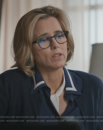Elizabeth's navy contrast blouse on Madam Secretary
