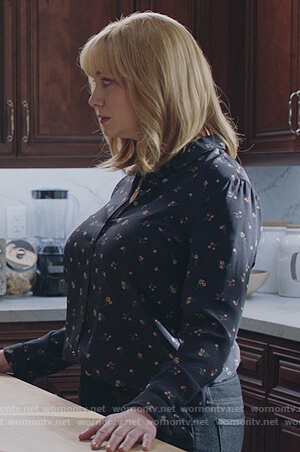 Beth's navy floral print blouse on Good Girls