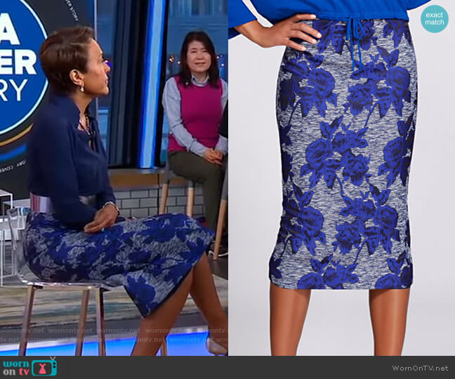 Jacquard Pencil Skirt - Gabrielle Union Collection by New York & Company worn by Robin Roberts  on Good Morning America