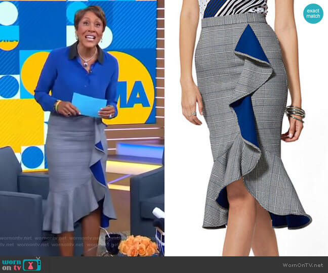 Plaid Ruffled Pencil Skirt - 7th Avenue by New York & Company worn by Robin Roberts  on Good Morning America