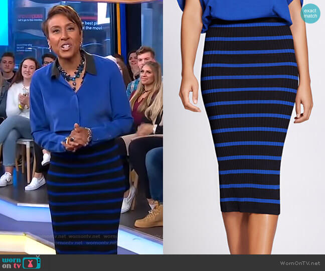 Striped Sweater Skirt - Gabrielle Union Collection by New York & Company worn by Robin Roberts  on Good Morning America