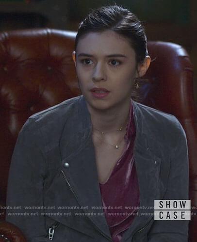 Nia's grey suede jacket on Supergirl