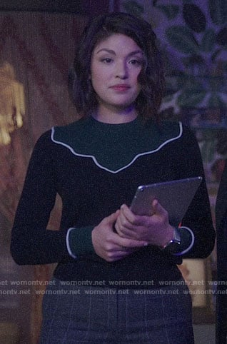 Niko's black and green sweater on Charmed