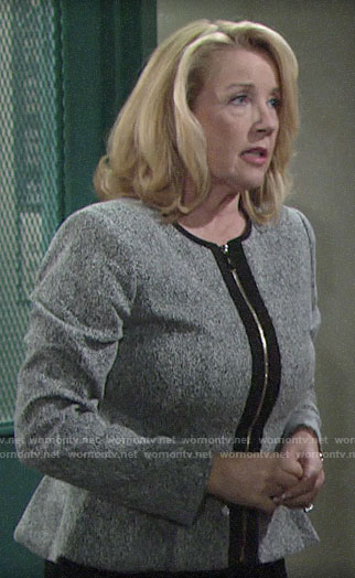 Nikki's grey peplum jacket on The Young and the Restless