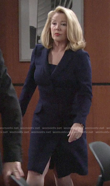 Nikki's navy blazer dress on The Young and the Restless