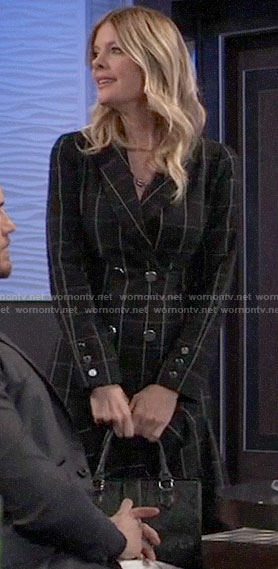 Nina's black checked double breasted dress on General Hospital