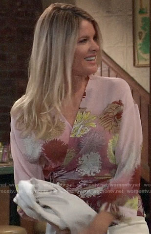 Nina's floral wrap top on General Hospital