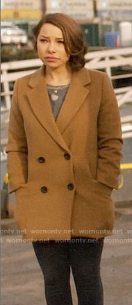 Nora's camel coat on The Flash