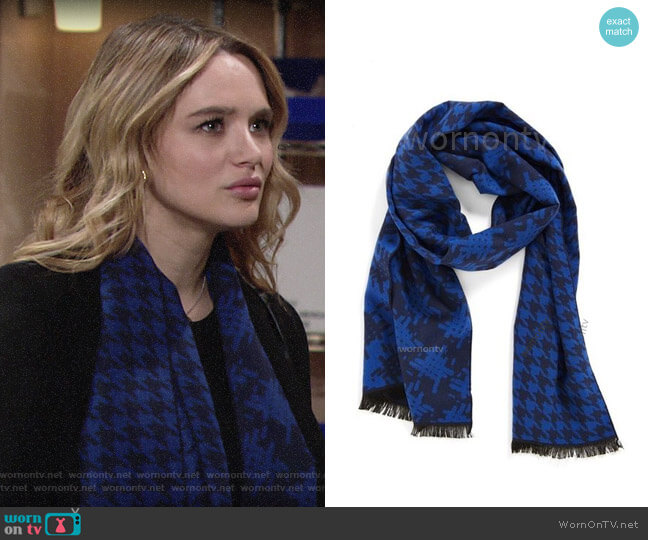 Nordstrom Houndstooth Scarf worn by Summer Newman (Hunter King) on The Young & the Restless
