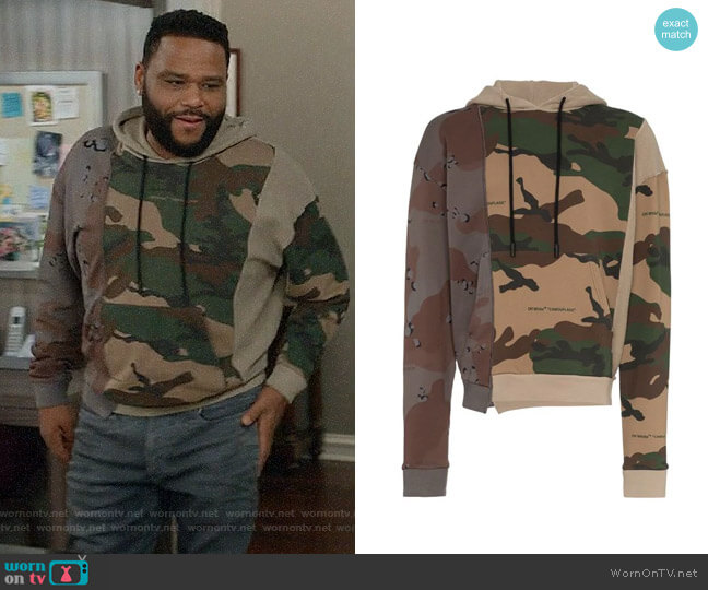 Off White Reconstructed cotton hoodie worn by Andre Johnson (Anthony Anderson) on Blackish
