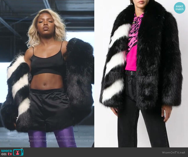 Striped Collar Fur Jacket by Off White worn by Alexandra Crane (Ryan Destiny) on Star