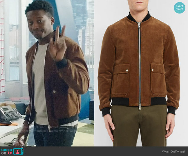 Oliver Spencer Bermondsey Cotton-corduroy Bomber Jacket worn by Miles Finer (Brandon Micheal Hall) on God Friended Me