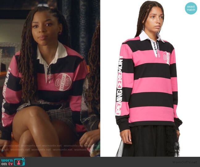 Pink & Black Striped Rugby Long Sleeve Polo worn by Jazlyn Forster (Chloe Bailey) on Grown-ish