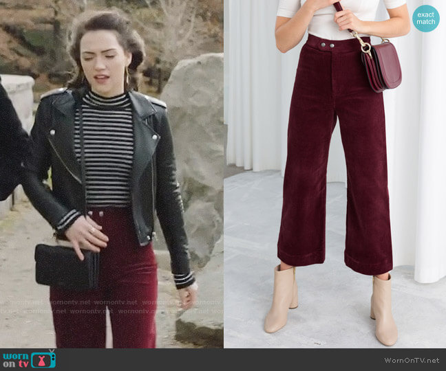 & Other Stories Duo Snap Button Corduroy Culottes worn by Cara Bloom (Violett Beane) on God Friended Me