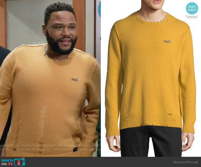 Ovadia & Sons Leopard Distressed Sweater worn by Andre Johnson (Anthony Anderson) on Blackish