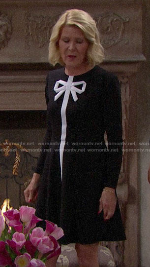 Pam's black and white bow dress on The Bold and the Beautiful