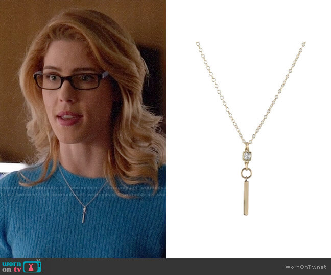 Peggy Li CZ Bar Necklace worn by Felicity Smoak (Emily Bett Rickards) on Arrow