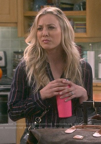 Penny's black striped v-neck top on The Big Bang Theory