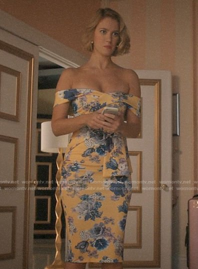 Petra's yellow floral off-shoulder dress on Jane the Virgin