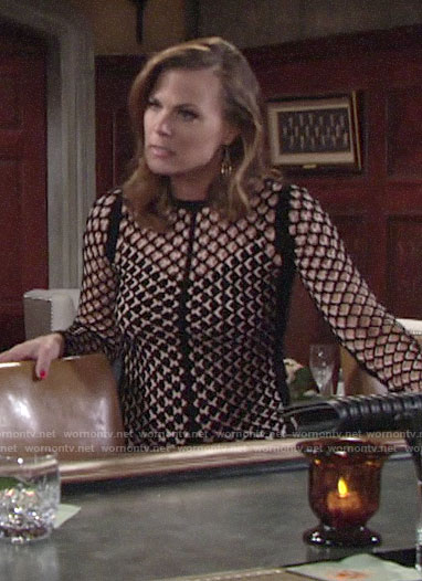 Phyllis's black and white mesh top on The Young and the Restless