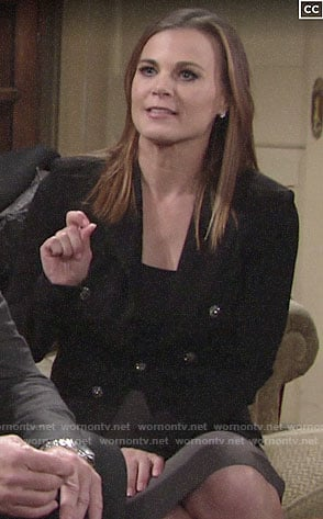 Phyllis's black blazer with sparkly buttons on The Young and the Restless