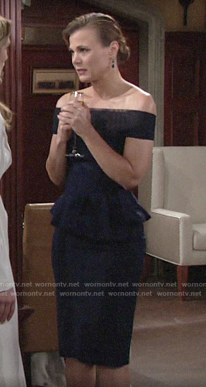 Phyllis's navy off-shoulder dress at Summer's wedding on The Young and the Restless