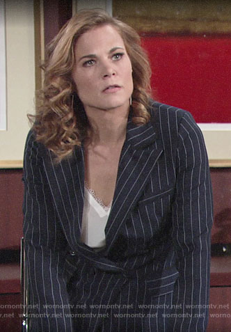 Phyllis's navy pinstripe blazer and white lace-trim top on The Young and the Restless