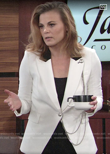 Phyllis's white chain detail blazer on The Young and the Restless