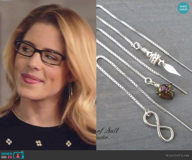 Pillar of Salt Studio Sterling Silver Spear Threader Earrings worn by Felicity Smoak (Emily Bett Rickards) on Arrow