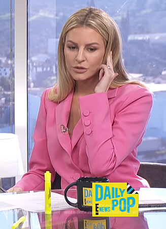 Morgan's pink two button blazer on E! News Daily Pop