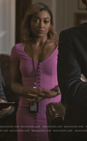 Daisy's pink button down dress on Madam Secretary