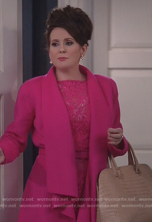 Karen's pink draped coat on Will and Grace