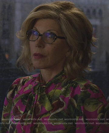 Diane's pink fig print blouse on The Good Fight