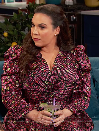 Gloria Calderon Kellett's floral knotted dress on Busy Tonight