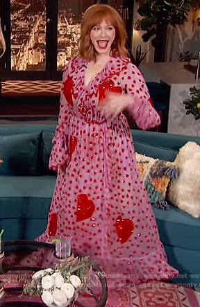 Christina Hendricks's pink heart embellished dress on Busy Phillips