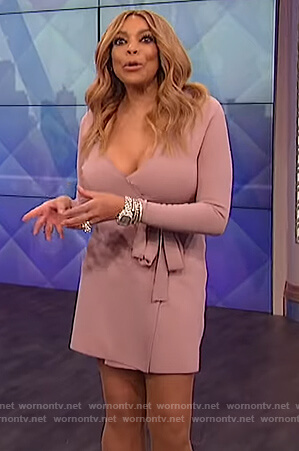 Wendy's pink knit wrap dress on The Wendy Williams Show