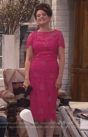 Karen's pink lace midi dress on Will and Grace