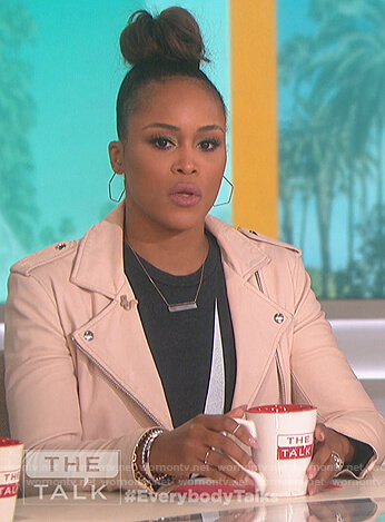 Eve's pink leather jacket and bolt print tee on The Talk