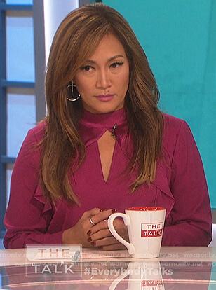 Carrie's pink keyhole ruffle blouse on The Talk