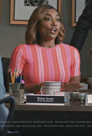 Daisy's pink striped dress on Madam Secretary