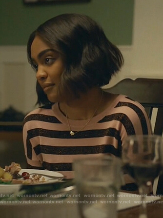 Jennifer's pink metallic striped sweater on Black Lightning