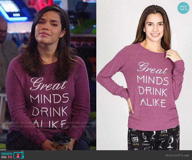 PJ Salvage Peachy Graphic Long Sleeve Top worn by Amy (America Ferrera) on Superstore